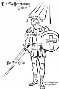 Ausmalbild - Die Waffenrüstung Gottes