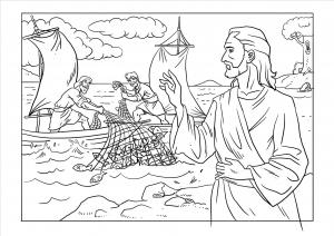 Ausmalbild - Jesus erscheint den Jüngern beim Fischen