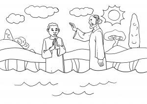 Ausmalbild Bastelbogen Philippus tauft den Kämmerer