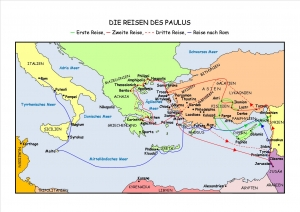 Karte - Reisen Paulus - Missionsreise - Reise nach Rom
